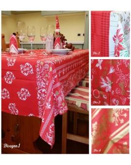 Tovaglia natalizia rettangolare 12 posti con tovaglioli servizio tavola regalo